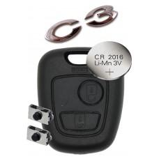 Citroen C1 C2 C3 2 BUTTON REMOTE KEY repair kit refurbish kit