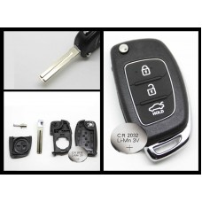 Hyundai IX35 i20 3 Button FOB Remote Key CASE Uncut Blade + new battery 2032