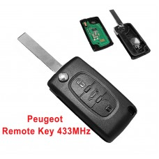 Fits to PEUGEOT 207 307 308 407 3 Button Remote Key FOB 433MHz HU83 blade ce0536 ASK
