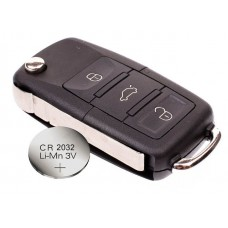 VW Volkswagen Passat Polo Golf Touran Bora SEAT Ibiza Leon SKODA Octavia Fabia 3 Buttons Remote Key FOB Case +battery CR2032