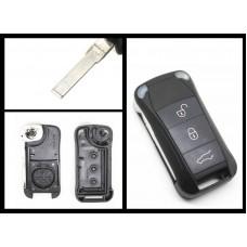 Porsche Replacement 3 Button remote key case/shell + blank blade